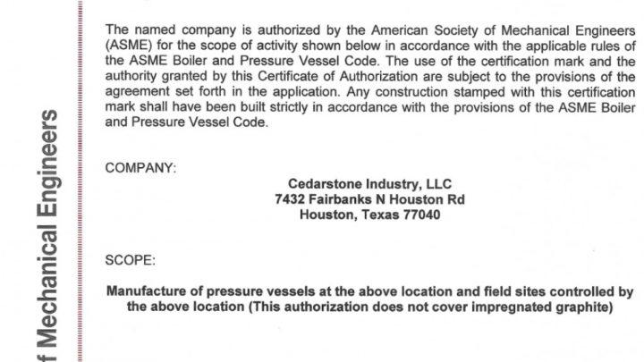 ASME Certificate